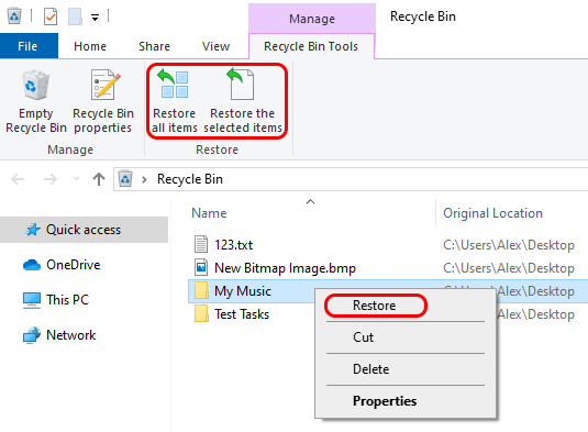 recover deleted files in windows 10 via Recycle Bin