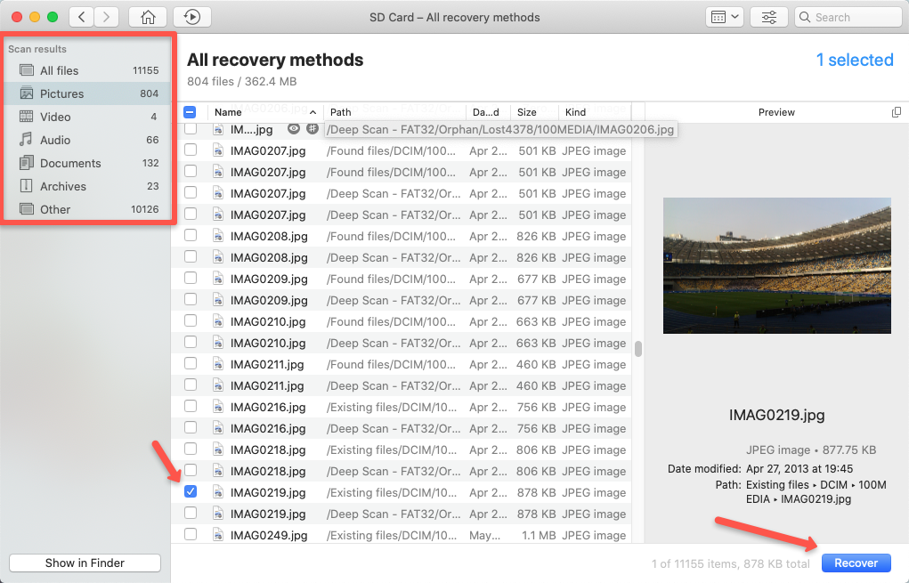 Select the files for recovery