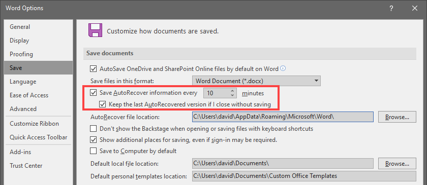 Enable AutoRecover Function in MS Word