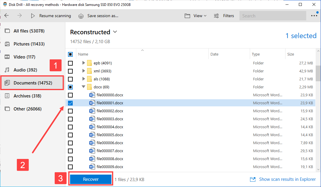 word documents recovery with disk drill