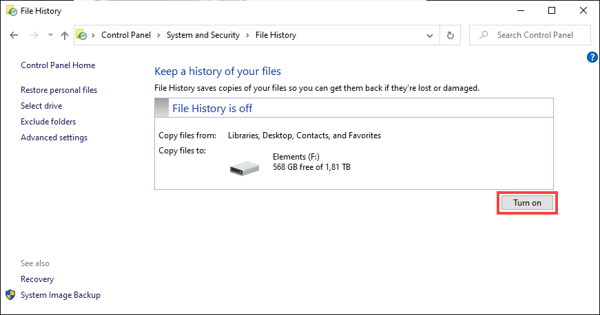 enable file history to backup word documents
