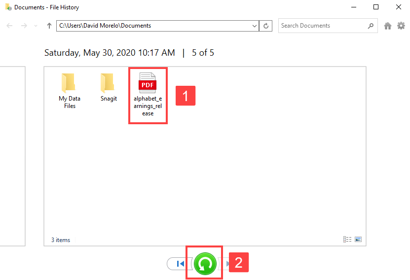 Recover PDF File from File History