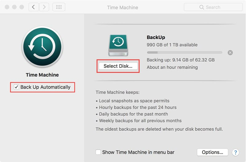 enable time machine to backup word documents