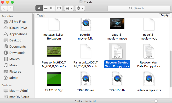 recover deleted word document from trash