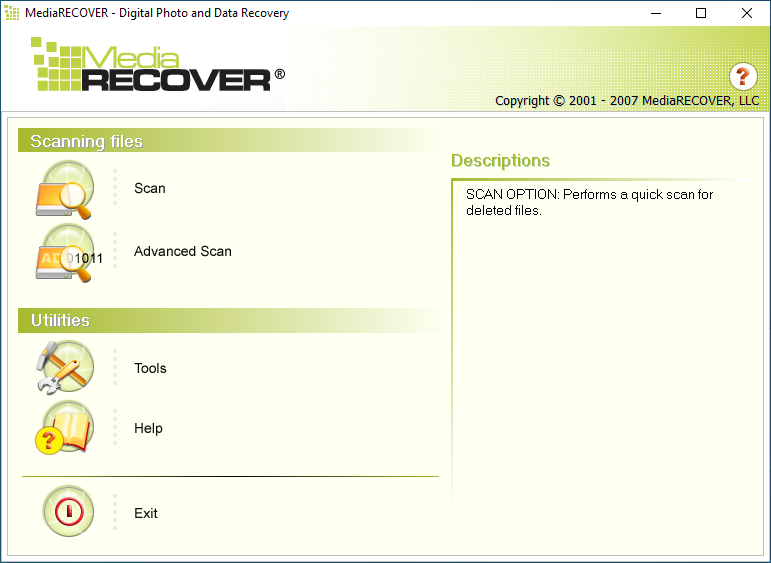 MediaRECOVER 4.0 Interface