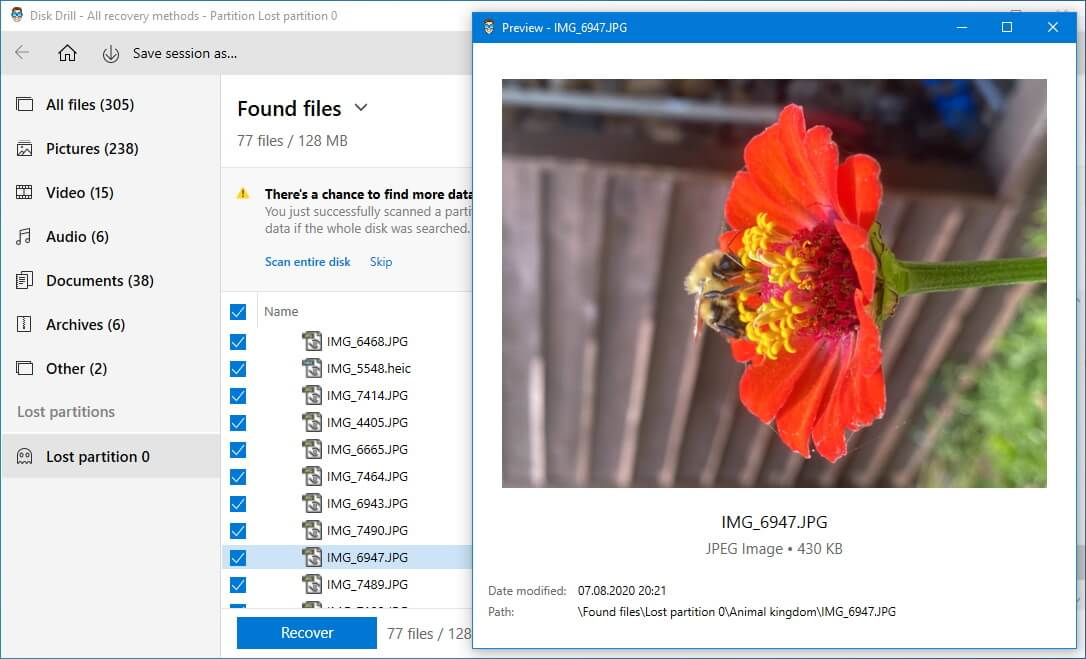 using preview to review the deleted photos on the lost partition