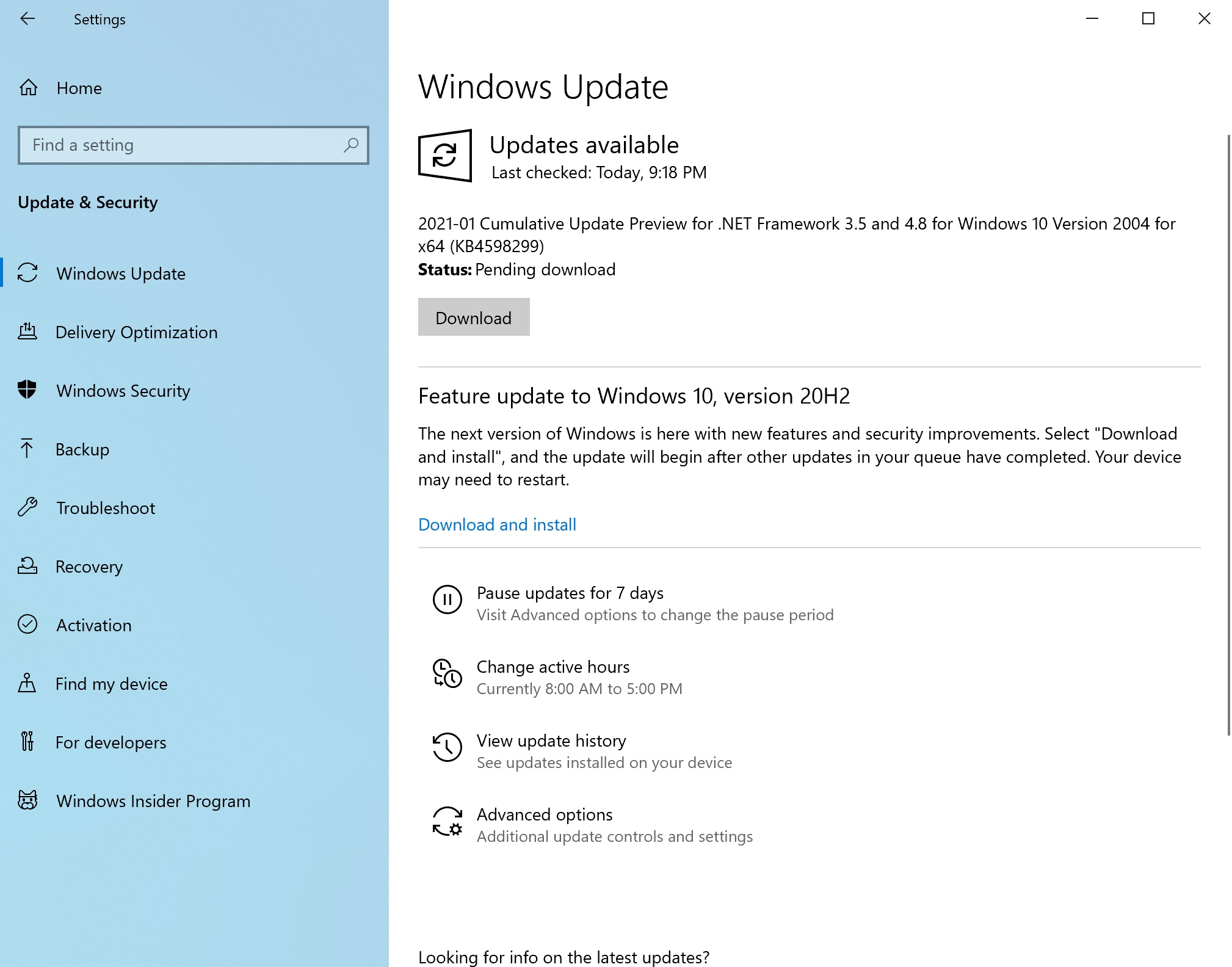 checking windows for updates