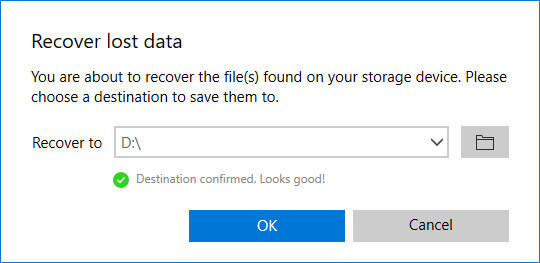 choose file recovery location