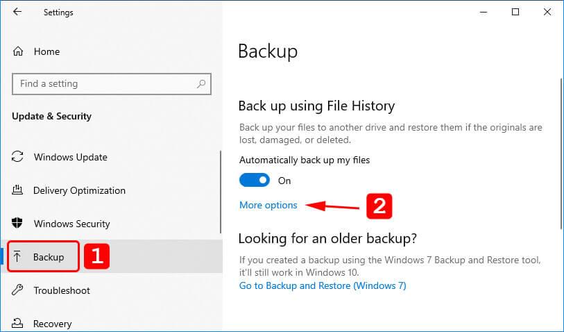 go to backup settings