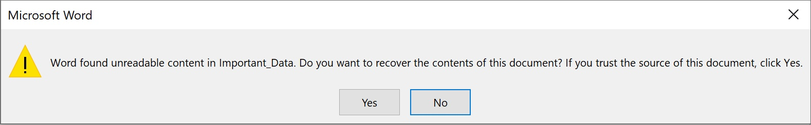 corrupted file message